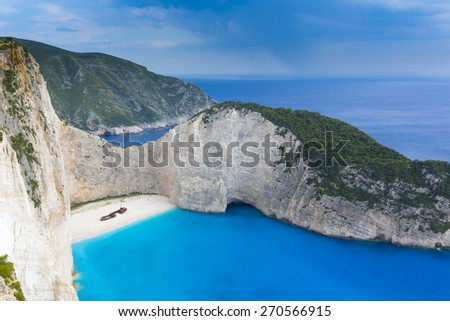 Navagio beach in Zakynthos island, Greece  - stock photo