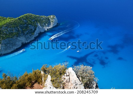 Navagio Beach in Zakynthos Island naval traffic, Greece - stock photo