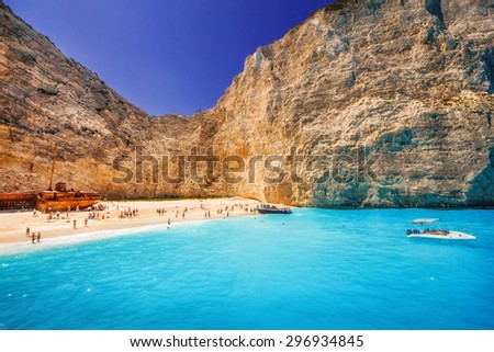 Navagio beach on Zakynthos island, Greece