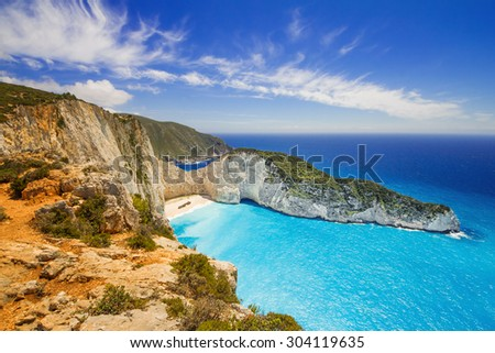 Navagio beach on Zakynthos island, Greece - stock photo