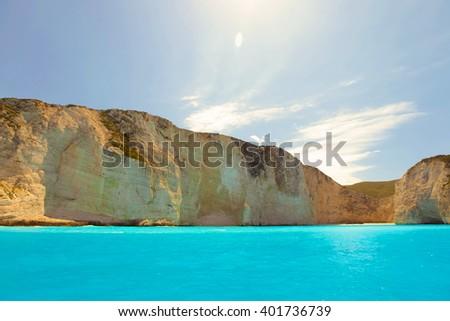 Navagio beach on Zakynthos island, Greece - stock photo