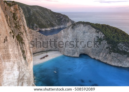 Navagio Beach or Shipwreck Beach is an exposed cove on the coast of Zakynthos, in the Ionian Islands of Greece.