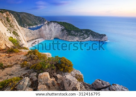 Navagio Beach (Shipwreck beach) at sunset on Zakynthos Island, Greece - stock photo