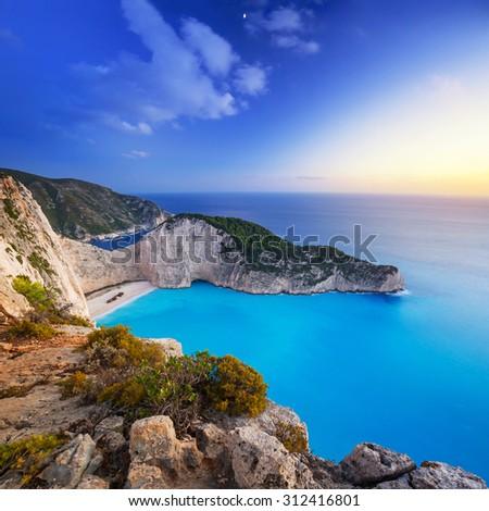 Navagio Beach (Shipwreck beach) at sunset on Zakynthos Island, Greece - stock photo