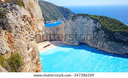 Navagio Beach (Shipwreck) on Zakynthos Island, Greece - stock photo