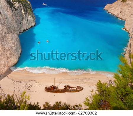 Navagio beach with a ship wreck on Zakynthos, Greece