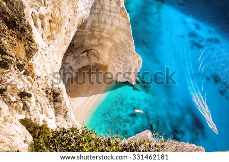 Navagio beach with boats on Zakynthos islans in Greece
