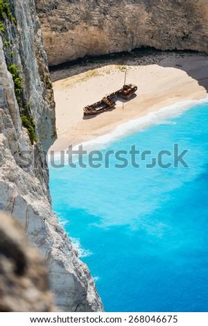 Navagio beach, Zakynthos, Greece - tall photo - stock photo