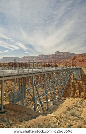 Navajo Bridge crossing the Colorado River's marble  Canyon near Lee's Ferry in Arizona.