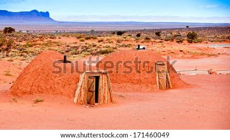 Navajo Hogans - Navajo Country, Arizona - stock photo
