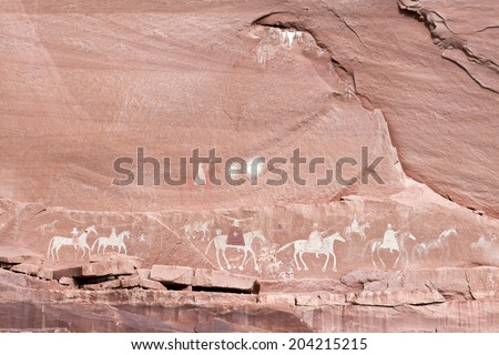 Navajo Indian paintings - stock photo