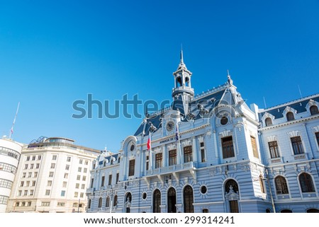 Naval Command building of Chile in Valparaiso, Chile - stock photo