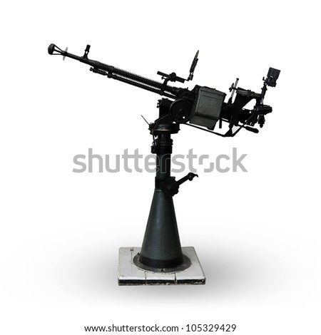 Naval machine gun isolated on white - stock photo