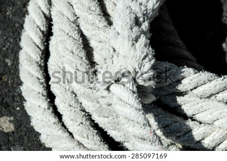 Naval Rope on a Pier, in Canary Islands, Spain - stock photo
