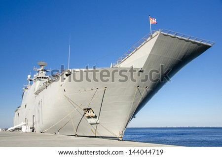 Naval ship docked at the port of Lisbon - stock photo