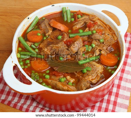 Navarin of lamb, French lamb stew, slow-cooked on the bone.