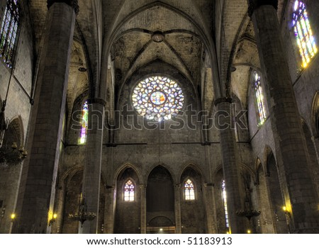 Nave of Santa Maria del Mar with Rose Window in HDR, Barclona, Spain - stock photo