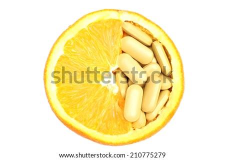 navel orange and vitamin c                                - stock photo