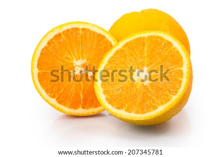 Navel Orange fruit full and sliced isolated on white background - stock photo