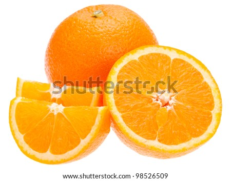 Navel seedless orange isolated on white - stock photo
