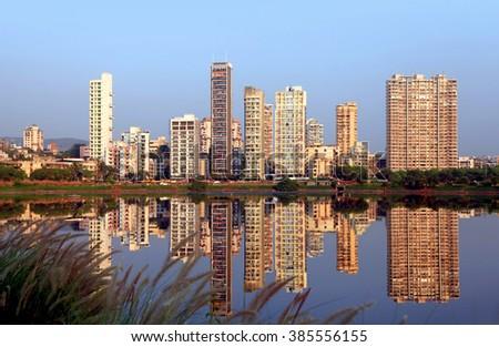 Navi Mumbai, India - 6 December 2015: Navi Mumbai is planned suburb built across sea on main land to reduce Mumbai congestion. - stock photo