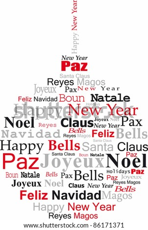 navidad ball, with congratulations in several languages, white bottom - stock photo