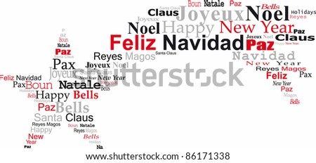 navidad comet, with congratulations in several languages, white bottom - stock photo