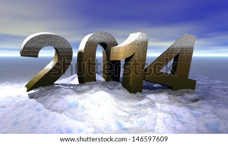 navidad illustration with the year numbers 2014     - stock photo