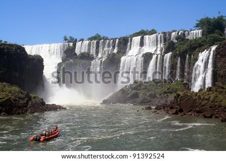 navigating between the iguazu falls - stock photo