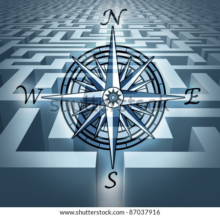 Navigating through challenges represented by a labyrinth maze  in 3D with a compass rose symbol showing the concept of business problem solving and solution oriented strategy and planning. - stock photo