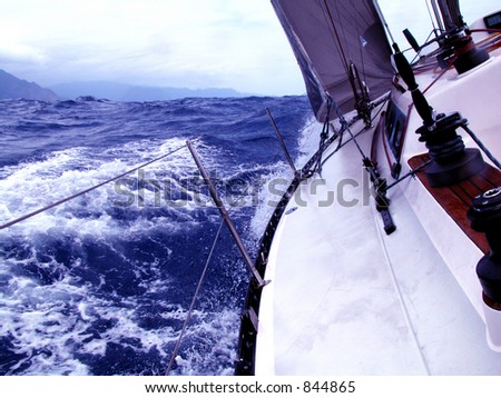 navigating with strong wind - stock photo