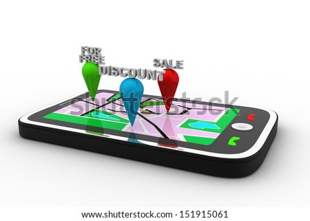 Navigation and map on the screen of smartphone