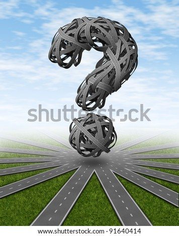 Navigation and places to go travel symbol with a network of connected roads and a dimensional question mark as tangled confused highways as a concept of asking for directions and GPS pilot assistance. - stock photo