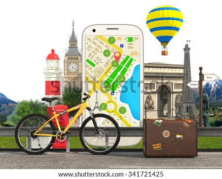 Navigation and traveling. Map pointer and location finding. Web application.backgrounds set.Location finding and map marker concept. - stock photo