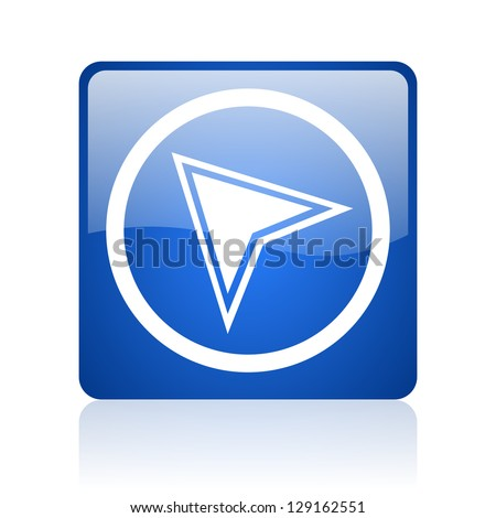 navigation blue square glossy web icon on white background - stock photo