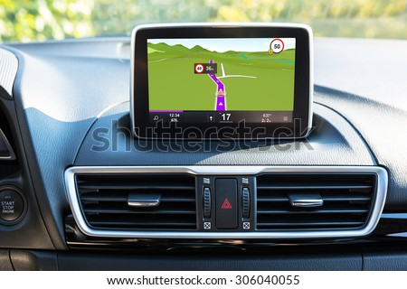 Navigation device in the car - stock photo