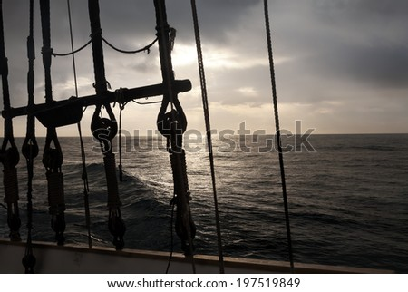 Navigation gear at sunrise - stock photo