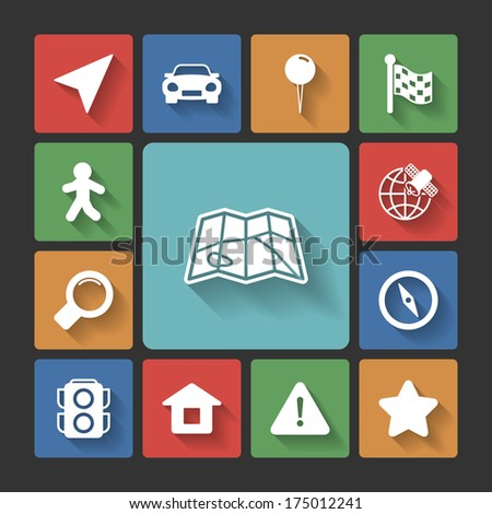 Navigation icons set, squared with long shadows isolated  illustration - stock photo