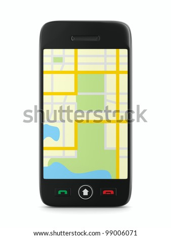 Navigation in phone. Isolated 3D image