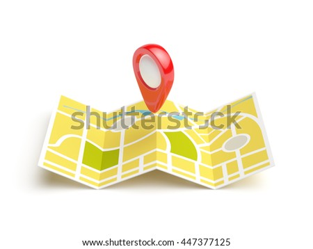Navigation map with red position pin. Travel concept. Isolated 3d rendering illustration on white background - stock photo