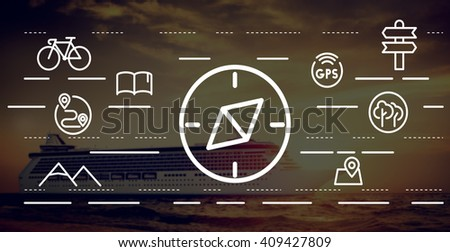 Navigation Navigator Compass Orientation Traveling Concept - stock photo