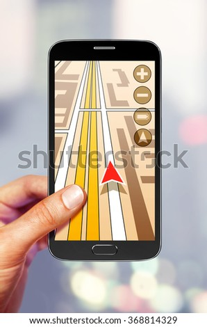 Navigation on the smartphone screen for tourist - stock photo