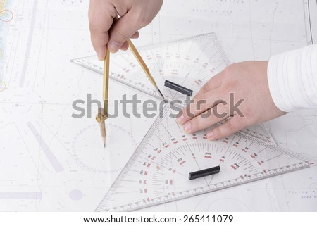 navigation ship map with divider and triangles - stock photo