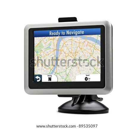 Navigation system. Gps on white isolated background. London map
