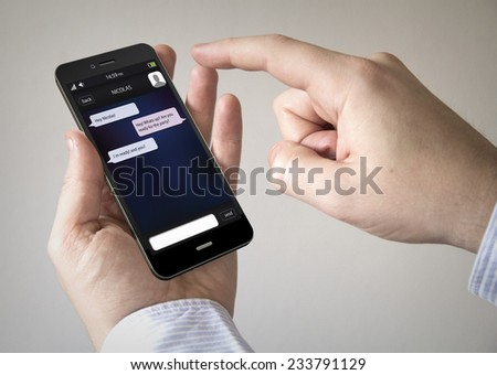 Navigation via Smart phone concept: Close up of man using Black Smartphone with a GPS map  - stock photo