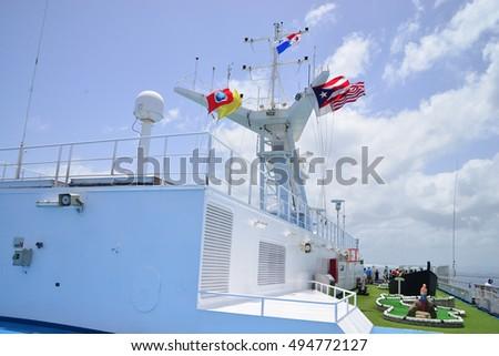Navigational Safety Equipment On Cruise Ship Stock Photo - Flying cruise ship