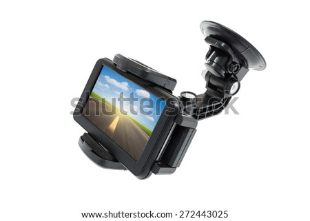 Navigator devices with holder isolated on white, clipping path include in file. - stock photo