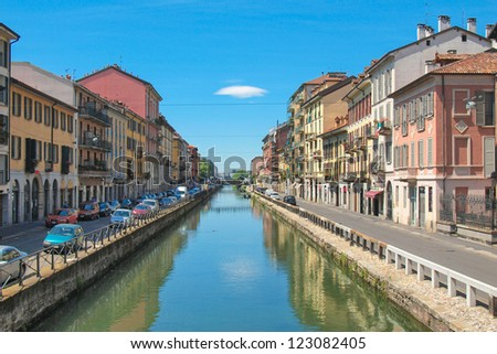 Naviglio Grande, canal waterway in Milan, Italy - stock photo