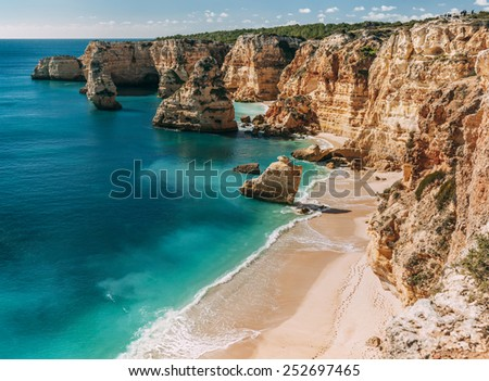 Navy Beach (Praia da Marinha) - one of the most famous beaches of Portugal, located on the Atlantic coast in Lagoa Municipality, Algarve. - stock photo