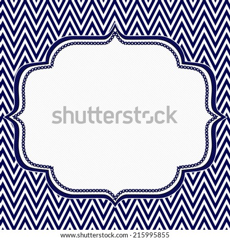 Navy Blue and White Chevron Zigzag Frame Background with center for copy-space, Classic Chevron Zigzag Frame - stock photo